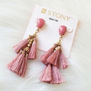 Stony Pink Cute Tassel Earrings